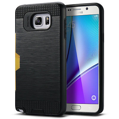 Hybrid Brushed Rugged Hard Case Card Slot Cover For Samsung Galaxy Note 5 Black