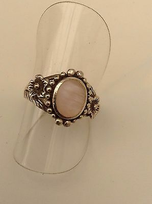 Silver Mother Of Pearl Ring Pink Stone