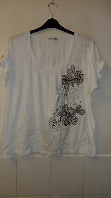 George Size 24 Womens T Shirt Top White Beige Black Net Embroidery Plus Size