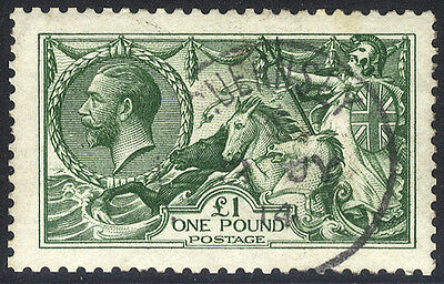 Seahorses - 1913 Waterlow £1 green, VFU example with Guernsey c.d.s. . . .