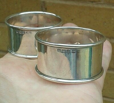 A Good Pair Of Vintage Solid Silver Napkin Rings, Birmingham 1927.