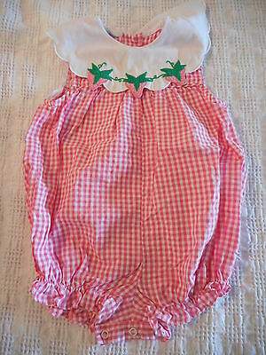 Baby Clothes Pink Gingham Strawberry Romper Playsuit Size 24 Months #720