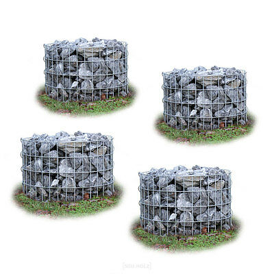 Gabions Set of 4 Ø 60cm H50CM Stone Baskets COLUMN Flowerpot