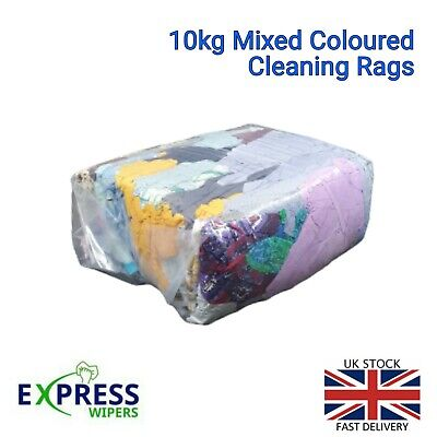 1 x 10 KG BAG OF MIXED COLOURED CLEANING RAGS