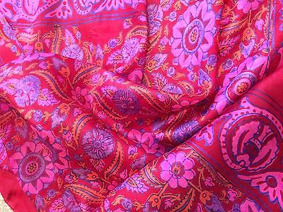 Vintage Silk Scarf INDIA batik hand woven rolled RED pink  shawl wrap large