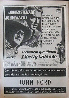 THE MAN WHO SHOT LIBERTY VALANCE- Movie Ad - in a portuguese 1962 magazine