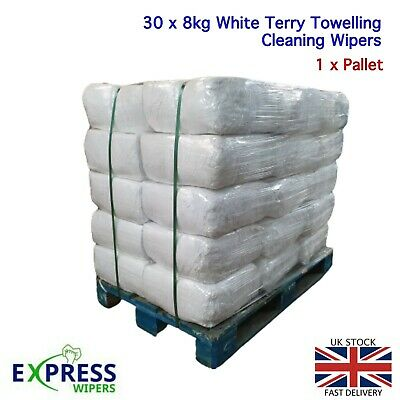 30 x 8KG WHITE TERRY TOWELLING CLEANING RAGS / WIPERS PRESS PACKED BAG