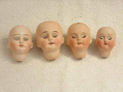 Antique Doll Bisque German Heads For Spares/repair Lot 3