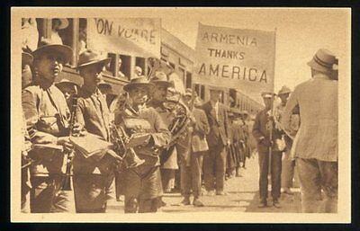 stained NEAR EAST RELIEF Armenian Genocide ppc Armenia Thanks America c.1920