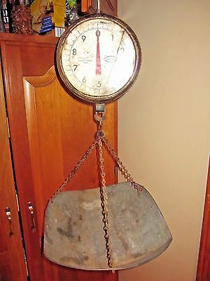 Vintage Chatillon Type 027  Hanging Scale Produce Basket 20 lbs. STORE primitive