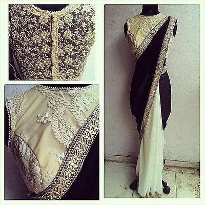 Latest Indian Designer Black And cream Bollywood Inspired Party wear Sarees