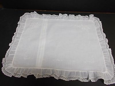 Vintage White Batiste BABY PILLOW SHAM Embroidered Lace Ruffle