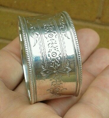 A Good Antique Solid Silver Napkin Ring, Sheffield 1897.