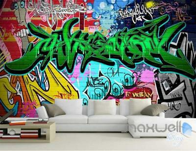 3D Graffiti Green Letters Wall Art Murals Paper Print Decals Decor Wallpaper