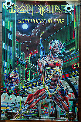 "Iron Maiden ""Somewhere In Time"" Poster Vintage Original (1986) Item #3090"