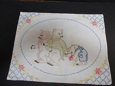 Vintage Baby Pillow Sham Three Bears Hand Embroidered