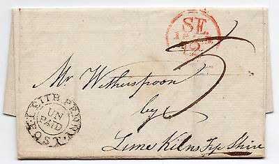 1805 full entire to Lime Kilns Fife-shire with Leith penny post UNPAID pmk + red
