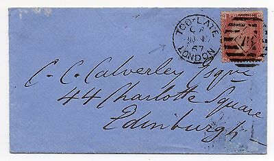 1867 envelope from London to Edinburgh with fine TOO LATE London pmk.