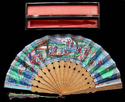 Antique Chinese Carved Sandalwood Export 1000 Faces Fan 清朝 道光帝 ca 1835 with Box