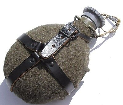 Genuine Czech Army M60 Water Bottle With Felt Cover And Leather Strap