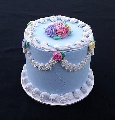 Adorable 6 Inch Blue Rosebud Cake