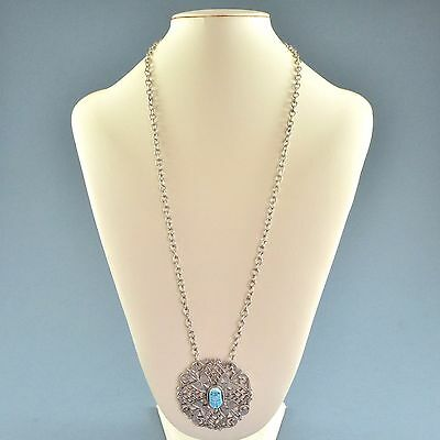 Vintage Necklace 1970s Egyptian Style Scarab Beetle Silvertone Bridal Jewellery