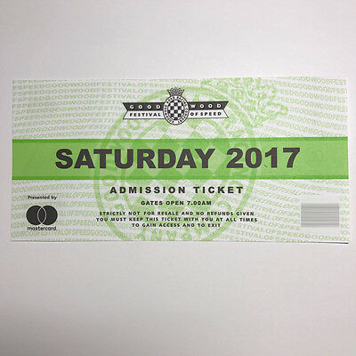 Goodwood Festival of Speed 2017 Saturday Admission Ticket