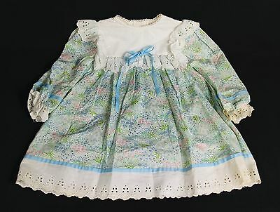 VTG Sears Roebuck Girl's Disney Winnie The Pooh Blue Floral Smocked Dress Sz 5