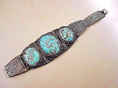Antique Chinese Silver Filigree Spiderweb Turquoise Bracelet 6 3/4""