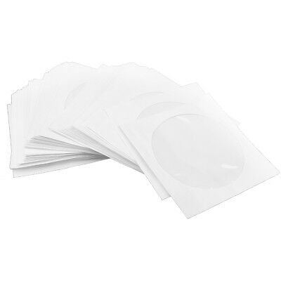 100x CD DVD White Paper Sleeve Clear Window Flap Envelopes