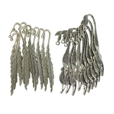 20Pcs Vintage Silver Feather Mermaid Beading Bookmarks Book Mark Crafts DIY