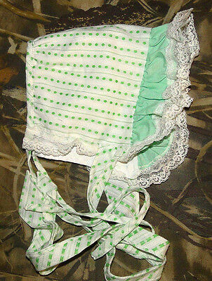 Vtg Green BABY or Doll BONNET WITH LACE Polka Dots