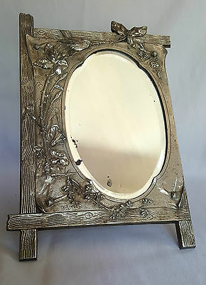 Miroir De Table - Art Nouveau - M Ringel - Metal Argente- Decor Oiseau