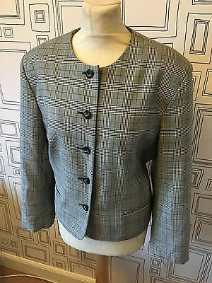 VINTAGE 80's BLACK & WHITE HOUNDSTOOTH BOXY BLAZER JACKET MEDIUM UK 14