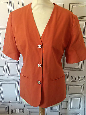 VINTAGE 80's RUST ORANGE SHORT SLEEVE BLAZER JACKET MEDIUM UK 14