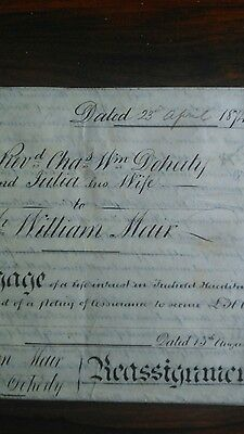 ANTIQUE Mortgage 1874 County of Flint reassignment mortgage, Doherty and Mair.