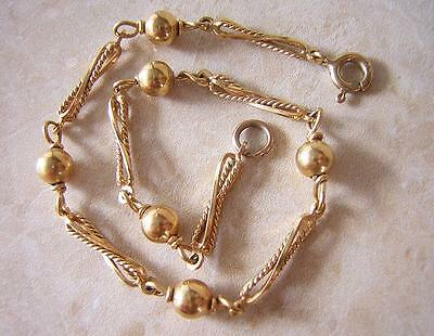 VICTORIAN  VINTAGE  9ct  ROSE GOLD BRACELET 5.1 gm OPENWORK TWIST PANEL & BALLS