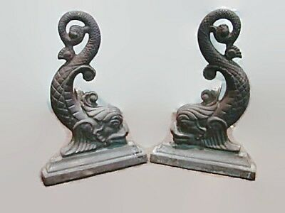 Nice Antique Pair OF LATE 1800'S CAST IRON DOLPHIN FISH Fireplace Andirons