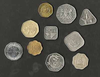 Unusual Shaped Coins Mixed Lot Of 10 Different ( Square Triangular Multisided )