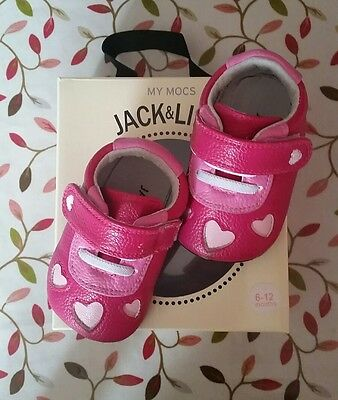 Jack and Lily My Mocs Ellie Pink Leather Shoes 6-12 months