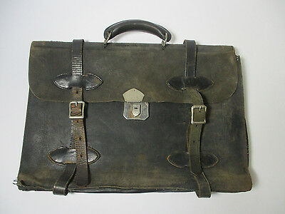 Antique Leather Traveling Briefcase Bag Satchel Vintage