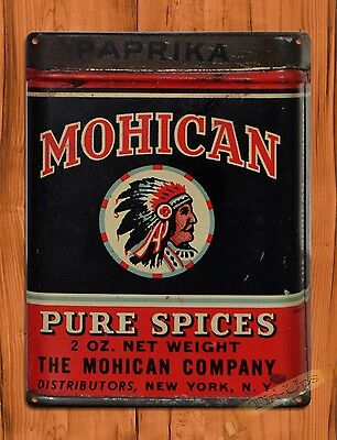 "TIN SIGN ""Mohican Spices""  Kitchen Paprika Rustic Wall Decor"