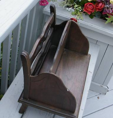 Antique Colonial Oak Dark Wood Magazine Book Shelf Holder Rack Doll Bear Bench