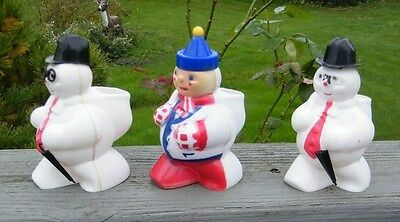 3 Antique Vintage Rosbro 1950 Candy Container Plastic Snowman Figurine Statues