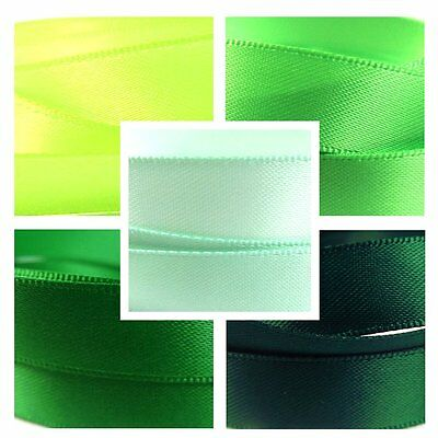 Quality Satin Ribbon By The Metre 3-25mm Green Colours, Lime, Emerald, Neon