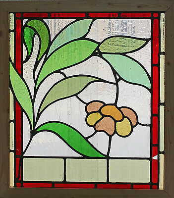 Antique Stained Glass Window Eight Colors of glass Ruby Bordered Bloom    (2639)