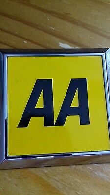 Vintage square AA badge in original packaging with backplate