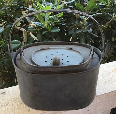 Oval Vintage French Galvanized Zinc Double Fishing Creel Bait Bucket w/ Handles
