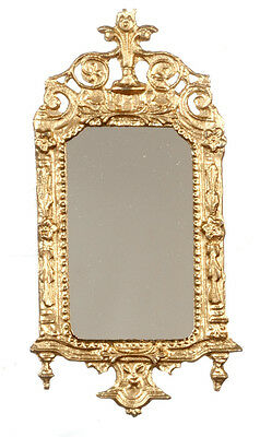 Light Gold Ornate Victorian Mirror, Dolls House Miniature, Wall Decor 1.12 Scale