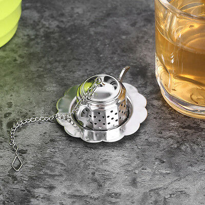 Stainless Steel Teapot Tea Infuser Spice Drink Strainer Herbal Filter+Tray RS